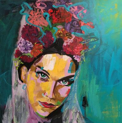 Acryl auf Leinwand   Titel: Frida II   Größe: 50 x 50