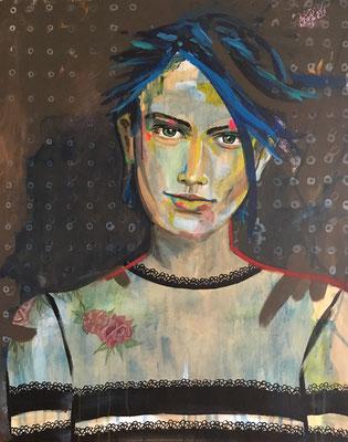 Acryl auf Leinwand   Titel: Tattoo?  Größe: 80 x 100