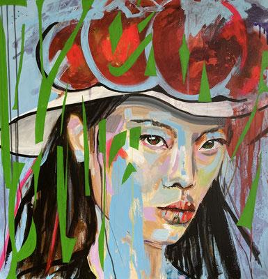 Acryl auf Leinwand  Titel: Schwarzwaldmädel VIII  Bildtröße: 80 x 80