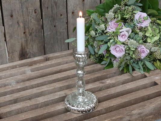 Kerzenständer  für stabkerze D2,3cm Bauernsilber H18/D10cm 14,99€