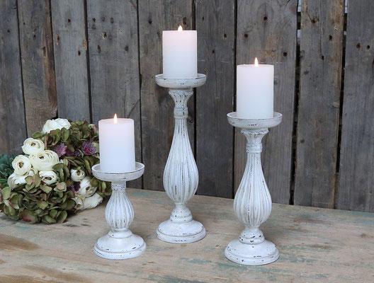 Kerzenständer für Stumpenkerzen Holz klein: H17/D10,5cm 14,99€ / groß: H27/D10,5cm 16,50€