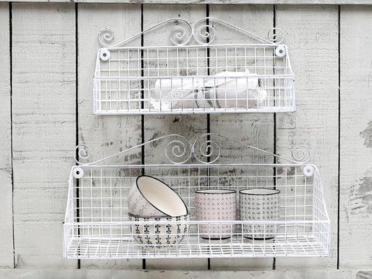 Regalkörbe zum Hängen aus Metall, Weiss - Chic Antique