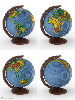 Dirks LEGO® Globe Premium with reddish brown stand 4 sides