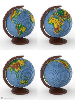 Dirks LEGO® Globe Premium with reddish brown stand 4 sides