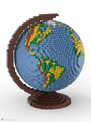Dirks LEGO® Globe Premium with reddish brown stand