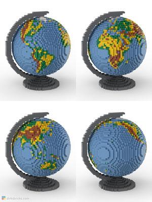Dirks LEGO® Globe Premium with dark bluish grey stand 4 sides