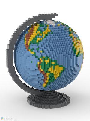 Dirks LEGO® Globe Premium with dark bluish grey stand