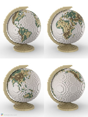 Dirks LEGO® Globe Antique with tan stand 4 sides