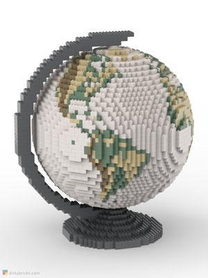 Dirks LEGO® Globe Antique with dark bluish grey stand