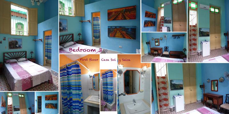 Bedroom 3 on first floor of 'Casa Sol y Salsa'
