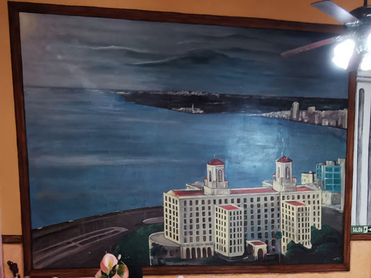 Painting of 'Hotel Nacional' and the fort of Havana
