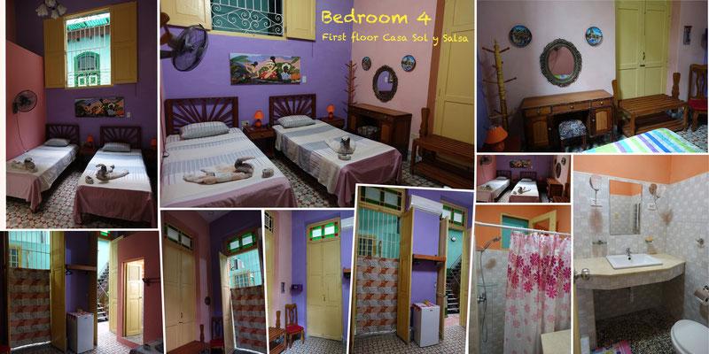 Bedroom 4 on first floor of 'Casa Sol y Salsa'