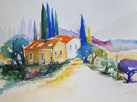 Landschaft Toskana 2018 Aquarell 24 x 32 cm