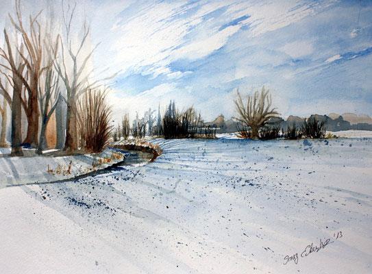 Winterlandschaft bei Freising Aquarell 30 x 40 cm