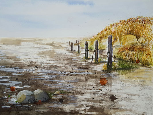 Wattenmeer Norderney 2016 Aquarell 36 x 48 cm