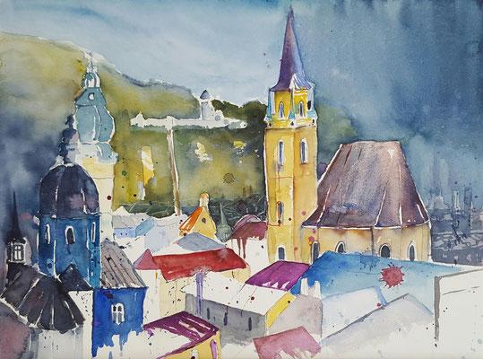 Stadtansicht Salzburg 2016 Aquarell 36 x 48 cm