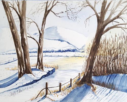Schneelandschaft 2017 Aquarell 24 x 32 cm