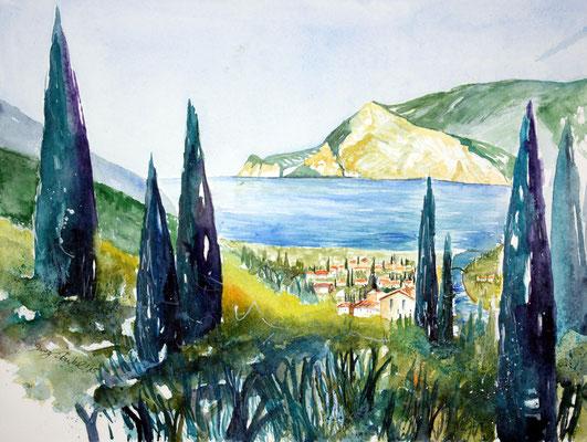 Torbole Gardasee Aquarell 36 x 48 cm