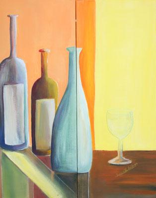 Flaschen Acryl auf Leinwand