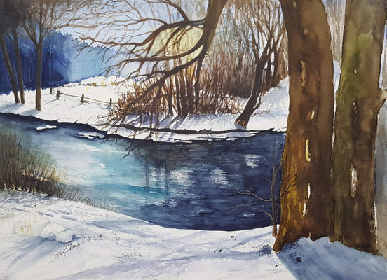 Winter an der Isar 2019 Aquarell 24 x 32 cm