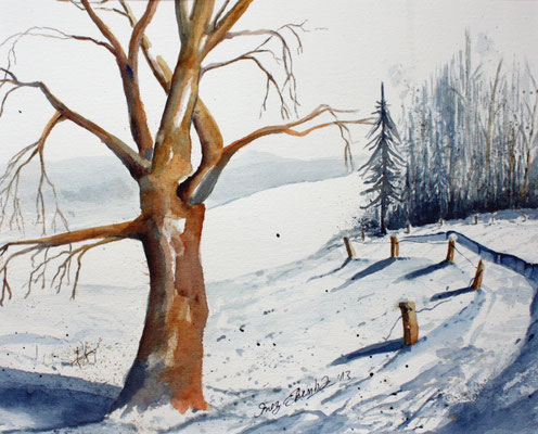 Winterlandschaft Aquarell 24 x 32 cm