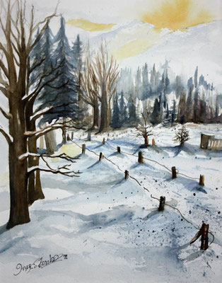 Winterlandschaft 2011 Aquarell 40 x 30 cm