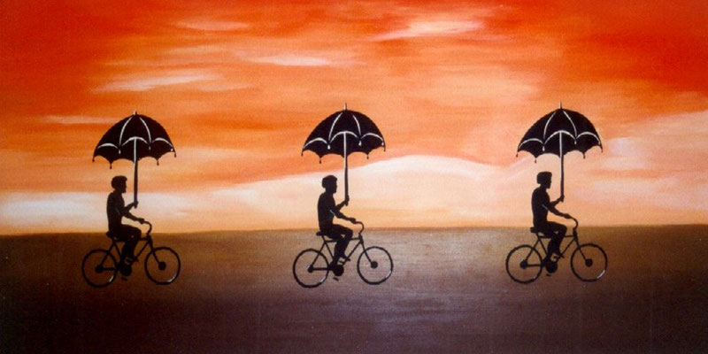 Drei Fahrradfahrer Acryl auf Leinwand - verkauft