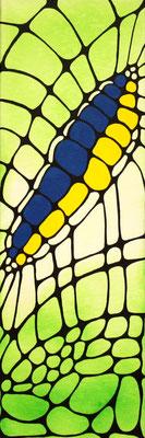 Raupe gelb Acryl auf Leinwand