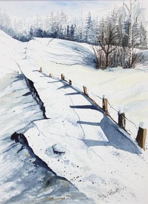 Winter Südtirol Aquarell 40 x 30 cm