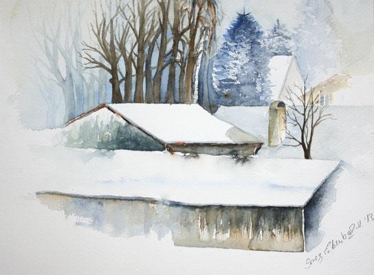 Winter in Hallbergmoos Aquarell 24 x 32 cm