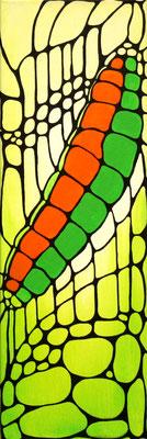 Raupe grün Acryl auf Leinwand