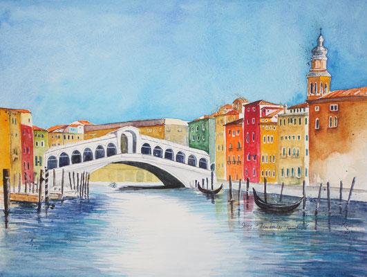 Rialto Brücke Venedig Aquarell 36 x 48 cm