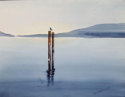 Ruhiger See 2017 Aquarell 36 x 48 cm