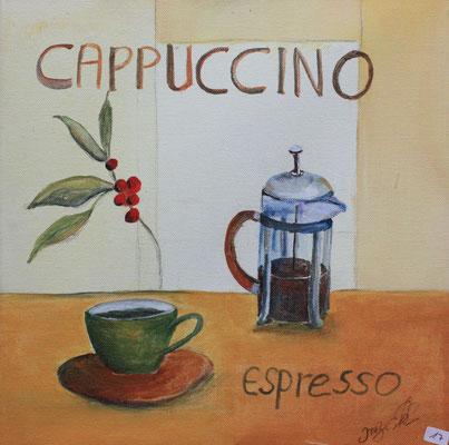 Cappuccino Acryl auf Leinwand - verkauft