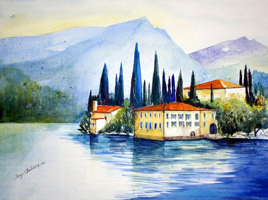 San Vigilio Gardasee Aquarell 36 x 48 cm