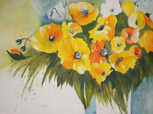 Blumenstrauss Acryl auf Leinwand - verkauft
