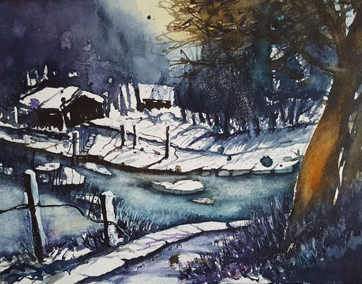 Winterlandschaft 2019 Aquarell 24 x 32 cm_19012019