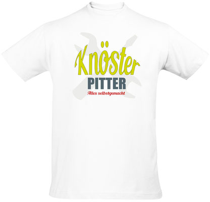 "Herren-/Unisex-Sirt ""Knösterpitter"" Weiß (KP01)"