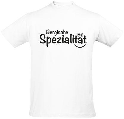 """Herren-/Unisex-Shirt """"Bergische Spezialität"""" Weiß (BS01)"""