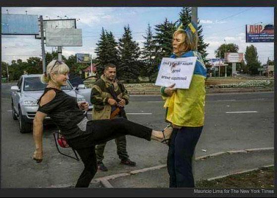 """Акт устрашения людей в ДНР. """"Русский мир"""" наказывает волонтёра, которая помогала украинским солдатам защищать территориальную целостность Украину."""