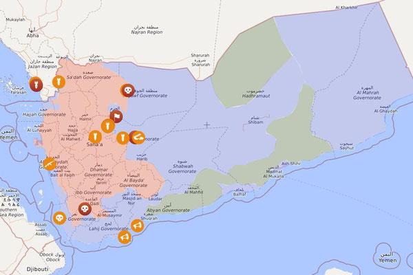 Jemen, 31.01.2020: Rot: Provinzen der Houthi-Bewegung mit Kampfhandlungen der saudischen Kriegskoalition / Blau: VAE inkl. Milizen / Grün: *AQAP