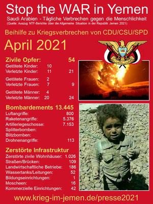04/2021 - Jemen - tagtägliche Kriegsverbrechen der Saudi/Emirati-Kriegskoalition