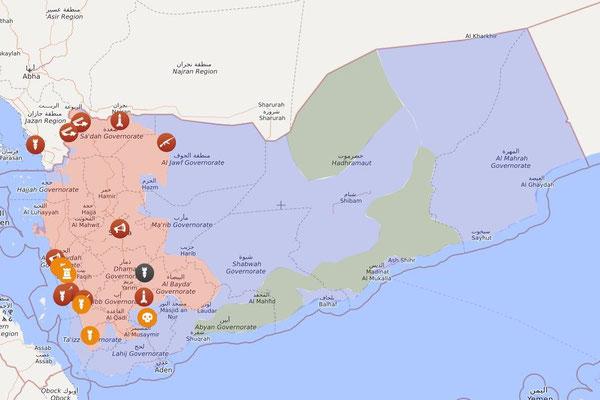 Jemen, 01.01.2020: Rot: Provinzen der Houthi-Bewegung mit Kampfhandlungen der saudischen Kriegskoalition / Blau: VAE inkl. Milizen / Grün: *AQAP