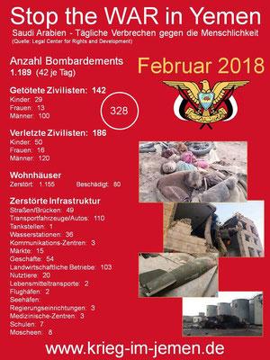 LCRD Statistik: Februar 2018 – Tägliche  Kriegsverbrechen Saudi Arabien und Kriegskoalition im Jemen