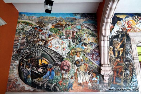 Mexiko_Hochland_Aguascalientes_Wandgemälde im Regierungsgebäude
