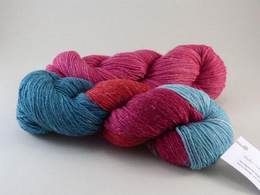 Triologie Wolle, Leinen und Seide handgefärbt