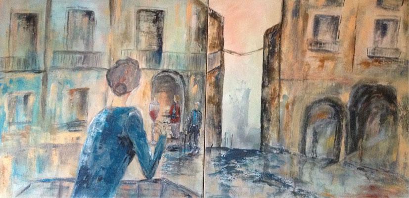 Die Beobachterin / Zweiteilig je 60 x 60 cm / 2016 / verkauft