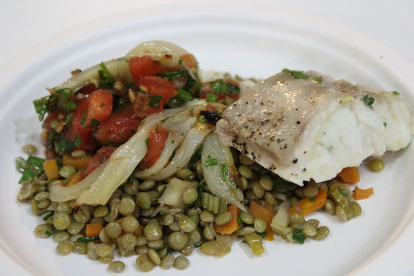 Alblinse (lentil) with fish