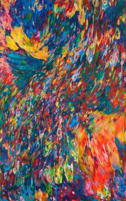 """Suns, Stars, and Cosmic Tree #13"", acrylic on canvas (48""x30""), 2014, $1,500 (photo-Aaron Johanson)"