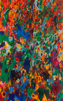 """Suns, Stars, and Cosmic Tree #11"", acrylic on canvas (48""x30""), 2014 , available $1,500 (photo-Aaron Johanson)"